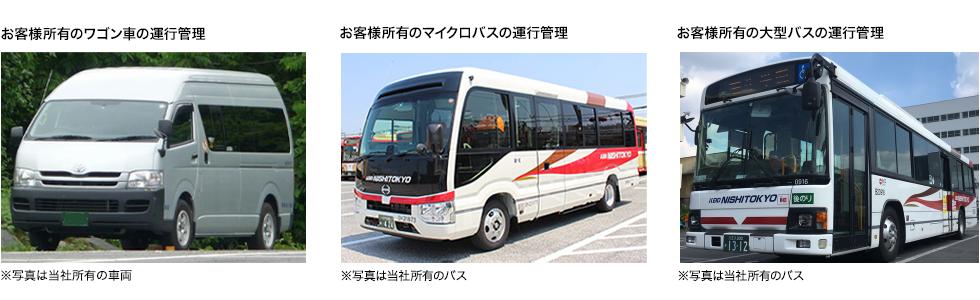 お客様所有のワゴン車の運行管理、お客様所有のマイクロバスの運行管理、お客様所有の大型バスの運行管理